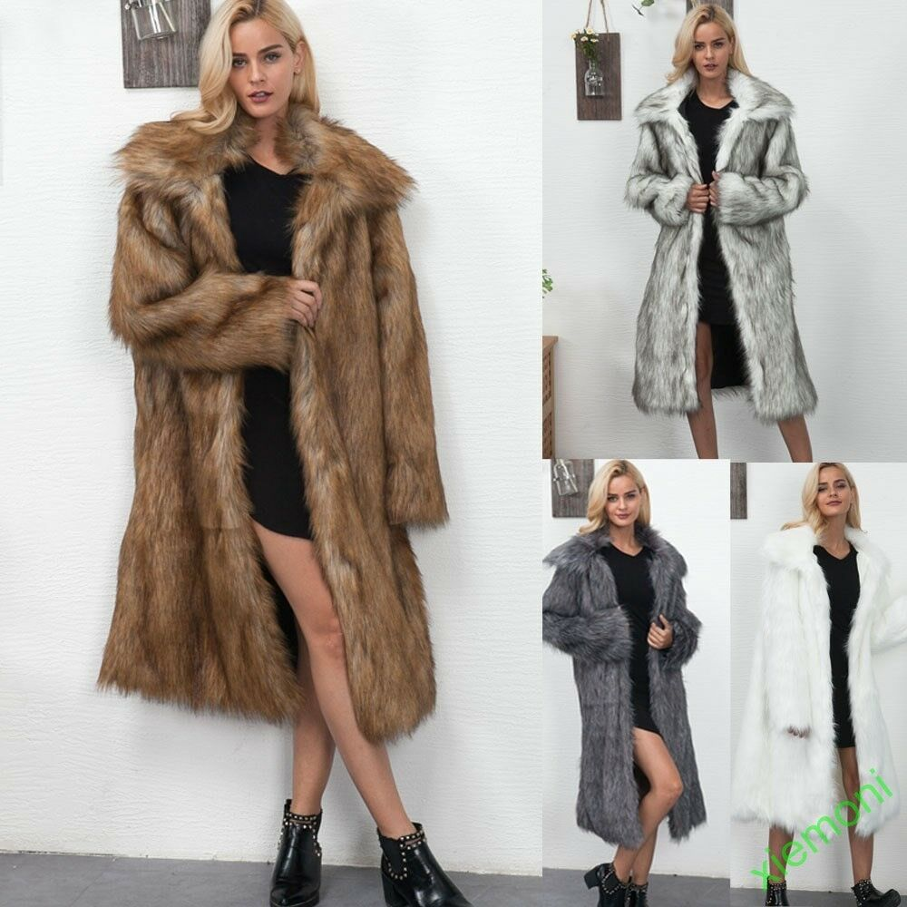2019 mode femmes Lapel Manteaux de fourrure Vestes Hiver chaud Trench long Parka Outwear