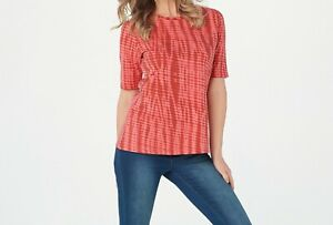 A376885-Denim-amp-Co-Printed-Perfect-Jersey-Elbow-Sleeve-Top-WARM-CORAL-M-258