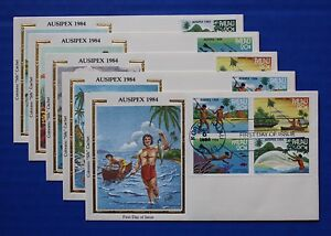 "Palau (55-58) 1984 AUSIPEX '84 - Fishing Methods Colorano ""Silk"" FDCs"