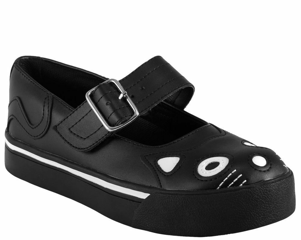 TUK T U K schwarz weiß Kitty Kitty Kitty Mary Jane Sneakers Damen Schuhe 7a9b79
