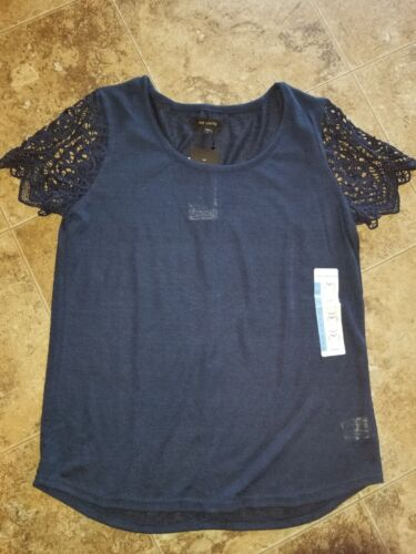 Nwt Womens The Limited Parker Lace Sleeve Tee Shirt Top Short Sleeve Blue S L