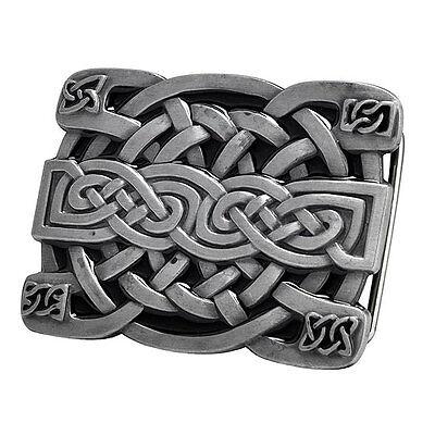 SILVER Irish Celtic Knot Mesh Design Belt Buckle Brushed Medieval Metal Hip Cool