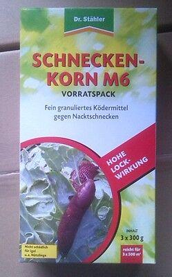 Dr. Stähler 3x300g Schneckenkorn M6 Fertigköder gegen Nacktschnecken Metaldehyd