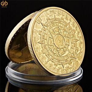 Gold-Plated-Coin-Mexico-Azetc-Mayan-Prophecy-Calendar-Souvenir-Coin-Antique