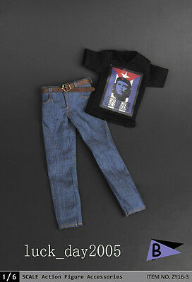 ❶1//6 clothes Che Guevara Revolution graphic T shirt Jeans Hot toys USA❶