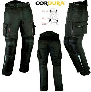 BLACK-CARGO-STYLE-MENS-VENTED-CE-ARMOUR-MOTORBIKE-MOTORCYCLE-TEXTILE-TROUSERS