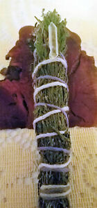 Cedar-Incense-Smudge-Stick-handpicked-handmade-amp-Blessed-5-6-034-Quartz-Crystal