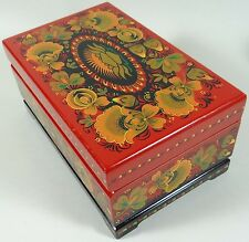Vintage Lacquer Box Hand Painted Wood Tea Cigar Jewelry Letter Red Orange Yellow