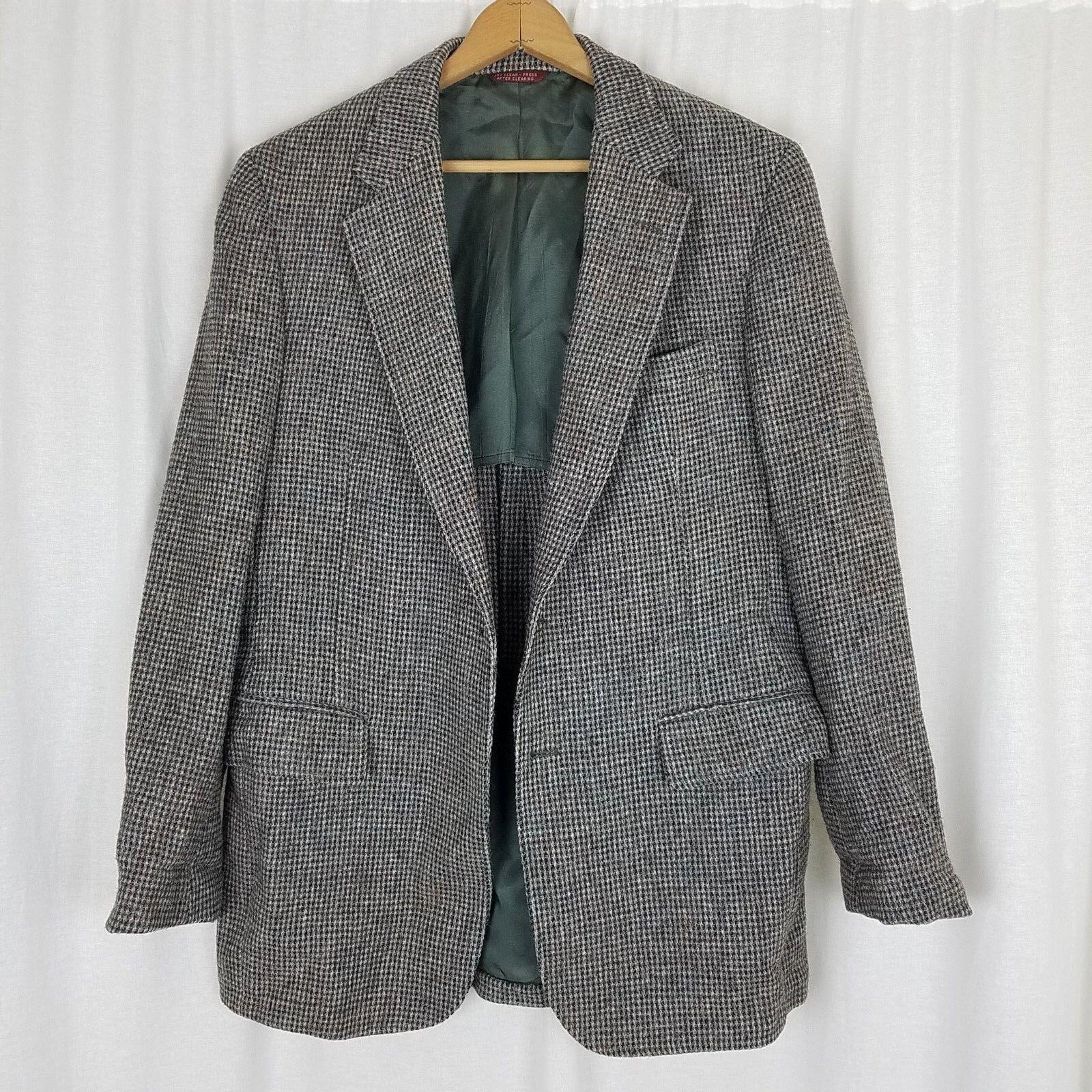 Vintage 50s Jahre Harris Tweed Hundezahn Sport Jacke Blazer Mantel Mcm Grau