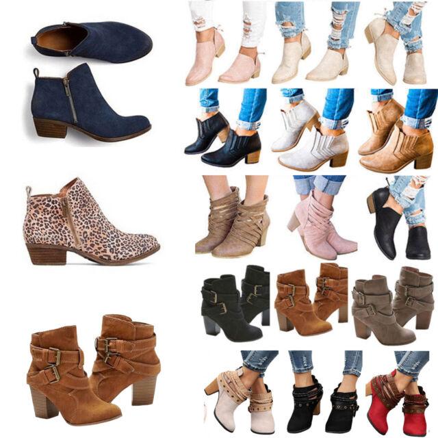 online retailer f8469 aa17a Damen Klobig Blockabsatz Ankle Boots Stiefeletten Stiefel Pumps Schuhe  Loafers