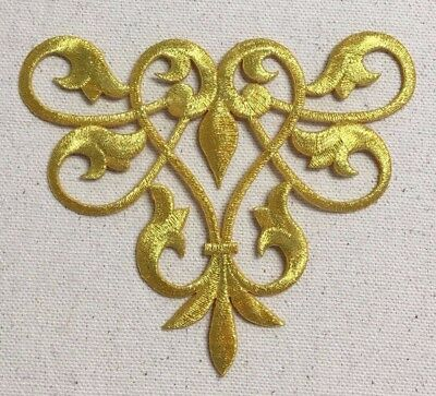 Gold - Abstract Swirl - Fleur de lis Design - Iron on Applique/Embroidered Patch