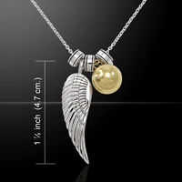 Angels Wing With Gold Harmony Globe Ball Sterling Silver Necklace By Peter Stone
