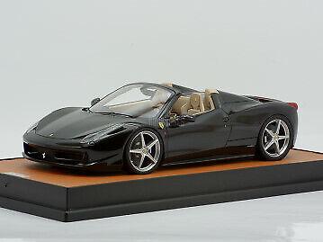 MR Models Ferrari 458 Spider 1 18 schwarz stellato special tan leather base