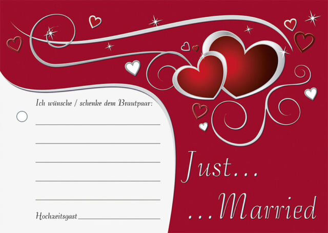 100 Stück Luftballonkarten rote Herzen Just Married Ballonflugkarten Hochzeit