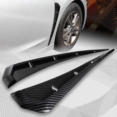 2x Carbon Fiber Look Side Fender Vent Air Wing Cover Trim Universal