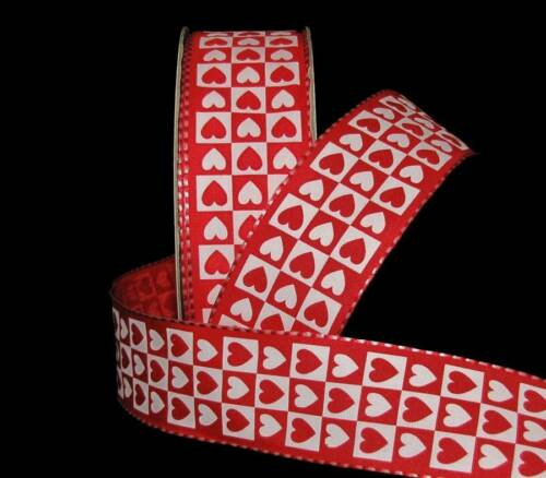 "5 Yards Red White Valentine/'s Day Heart Checked Wired Ribbon 1 1//2/""W"