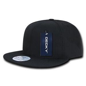 Ripstop-Flat-Bill-Snapback-Cap-Black-Cotton-Hat-Decky-360-BLK-New