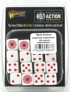 Bolt-Action-408406001-Imperial-Japanese-D6-Pack-16-Dice-WWII-White-amp-Red-Sun