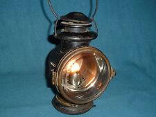 VINTAGE KEROSENE LAMP LANTERN CAR TRAIN  BEVELED CLEAR GLASS RED REAR LIGHT WOW!
