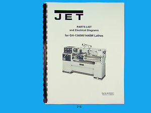 Jet GH-1340W/1440W Lathe Parts List & Electrical Diagrams Manual *215 | eBayeBay