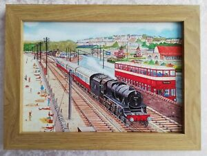 Mumbles Train and LMS Steam Train Swansea  - Watercolour Painting - Tony Paultyn