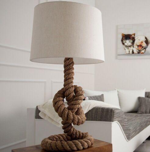 Tischlampe Seil maritim Tau-Lampe Stehlampe 85cm beige natur Sylt Design
