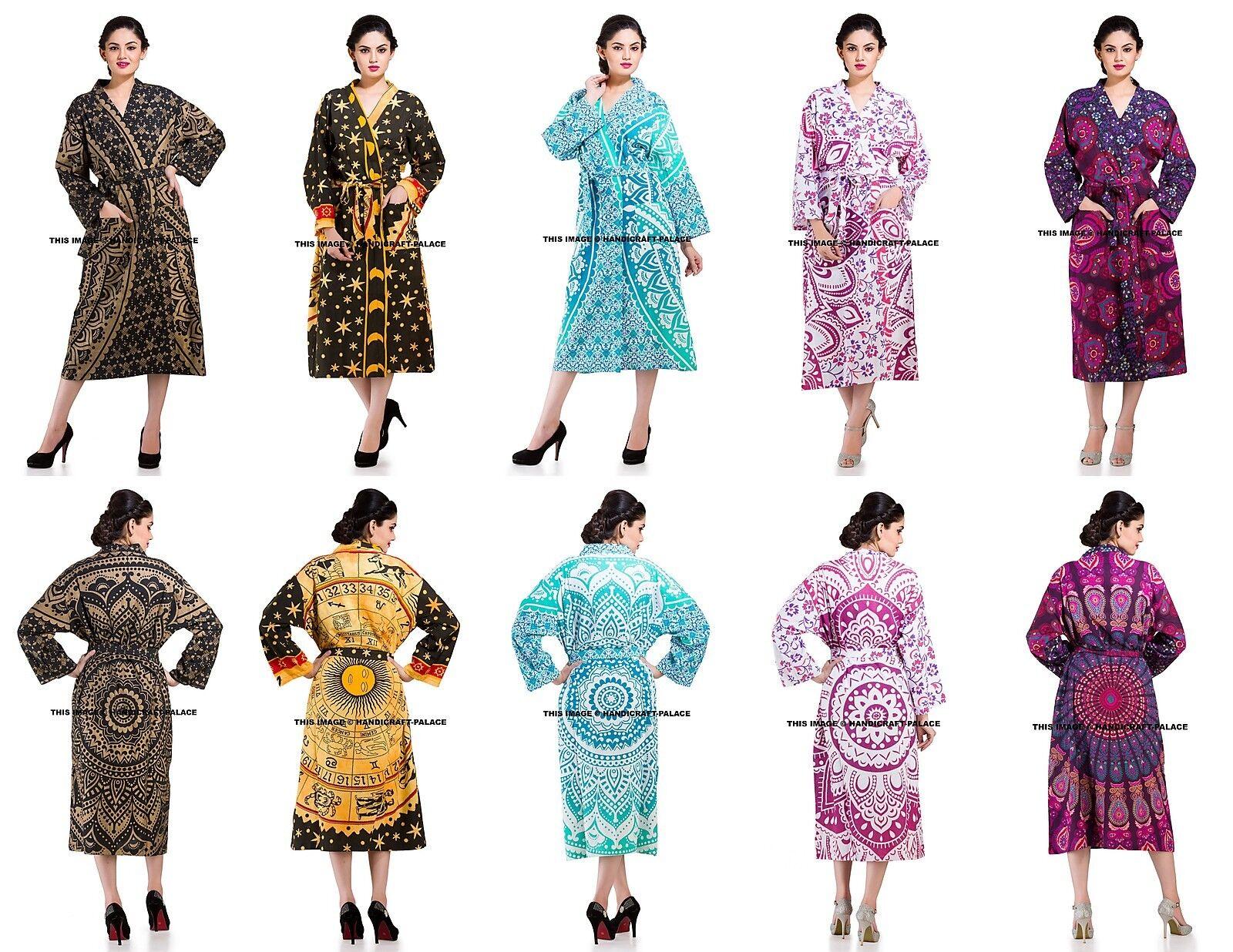 5 PC LOT Indian Mandala Bath Robe Evening Gown Nightwear Lingerie Cover Up Boho