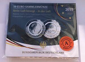 10 Euro Sammlermünze 2019 Serie: Luft bewegt - In der Luft - Prägestätte A in PP