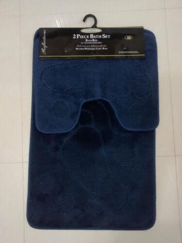 Bath Mat Set Non Slip Rubber 2 Piece Pedestal Bathroom Rug in various designs