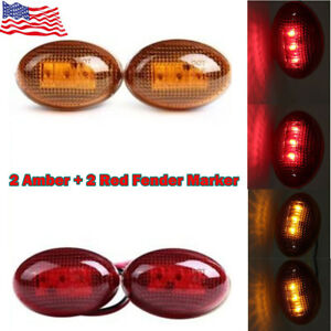For-99-10-Ford-F350-Side-Amber-Fender-Marker-Dually-Bed-LED-Lights-US-Stock