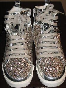 b622eef0ca106 Womens hi silver rhinestone sneakers 5.5 6 bat mitzvah Britt Remy ...
