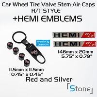 Hemi R/t Valve Rt Cover Emblem Badge Decals Sticker Dodge Challenger Jeep Red