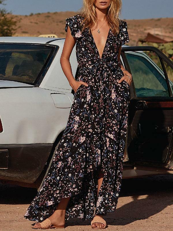 Kleid maxi große kleid mode frau schwarz Blaumenmuster weich bohoo bohemia 5135
