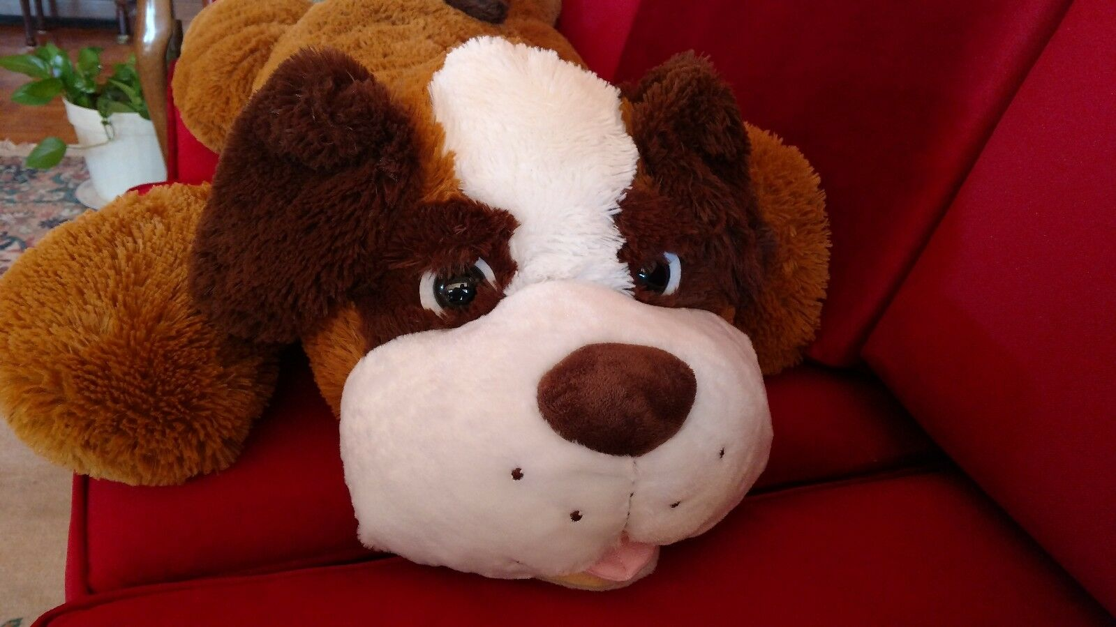 Large 42  KellyToy Saint St. Bernard Puppy Dog marrone Plush JUMBO Valentines