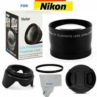 52mm 2.2x Telephoto Zoom Lens + Accessories For Nikon Dslr Cameras D3000 D3100