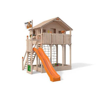 ISIDOR Bobby Big Baumhaus Spielturm Sandkasten XXL- Rutsche auf 2,00m Podesthöhe