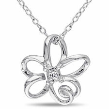 Amour Sterling Silver Diamond Flower Necklace (G-H I2-I3)