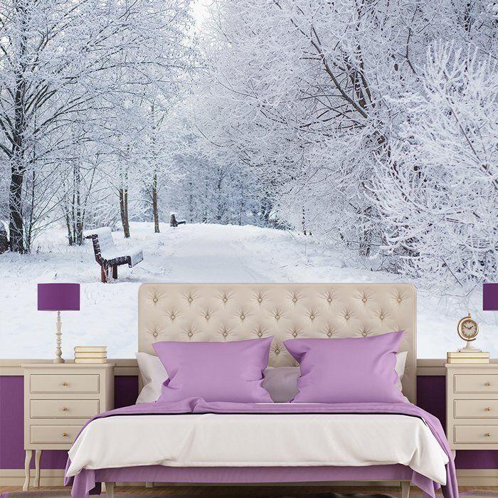 Verschneite Bäume Fototapete Weiße Winterlandschaft Tapete Schlafzimmer Haus