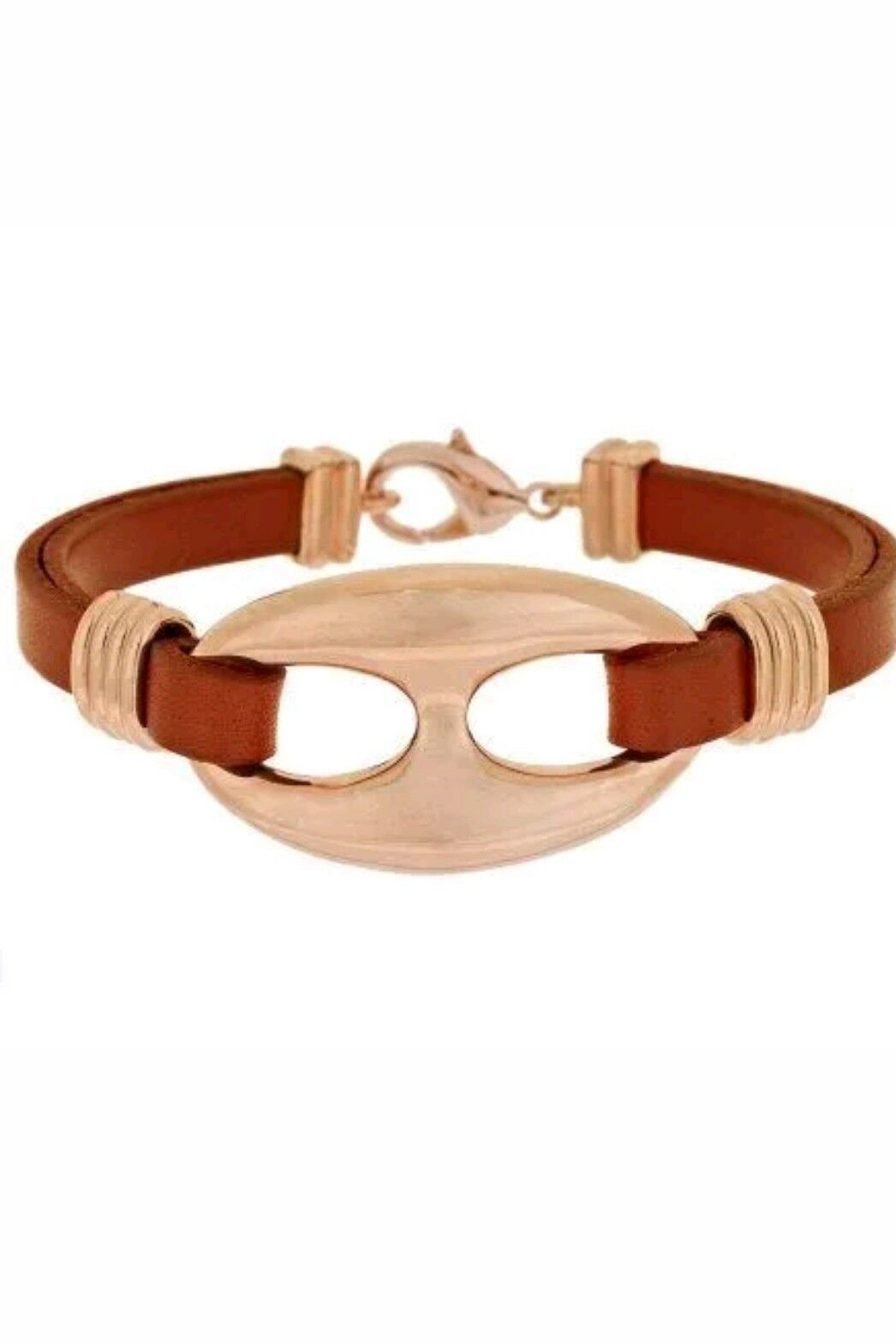 QVC Bronzo Italia Leather Link   Bracelet  orig  78 BEAUTIFUL GIFT unisex GIFT