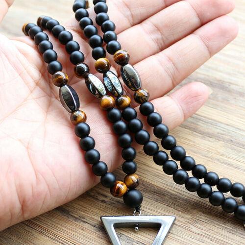 Men Jewelry Necklace Fashion Design Black Rope Chain Hematite Triangle Pendant