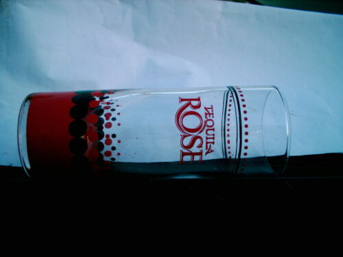 TEQUILA  ROSE  SHOT GLASS  RED AND BLACK DOTTED LOGO CLEARANCE