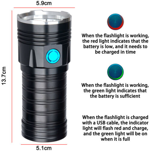 25000LM USB Rechargeable 18x XM-L T6 LED Torch Flashlight Powerful Hunting Light