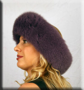 New Purple Fox Fur Headband 26 Inches Long and 5 Inches Wide