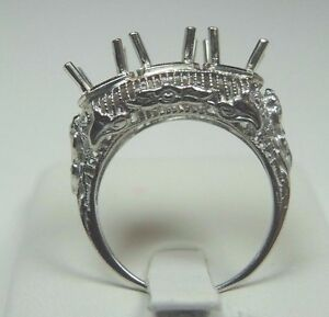 Antique-Art-Deco-Setting-Mounting-Mount-14K-White-Gold-Hold-5-75MM-2-5MM-Sz-6-5