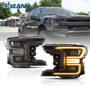 VLAND Fits For Ford F-150 F150 2018-2020 Black LED Headlights Assembly
