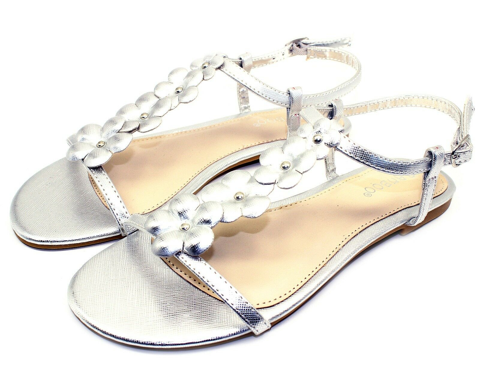 Man's/Woman's CALEB-10 New Flats Sandals Buckle Shoes Gladiator Party Beach Women Shoes Buckle Silver 7 Modern technology Attractive fashion Sales online store WR731 9db494