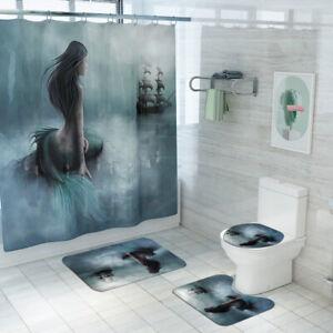 Mermaid Bathroom Rug Set Shower Curtain Thick Bath Mat Non-Slip Toilet Lid Cover