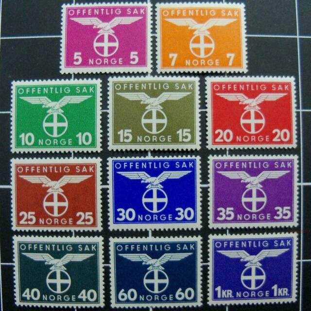 Norway WW2 Nazi Emblem stamps-COMPLETE SET,1944,rare-MNH-Norwegian gov't post