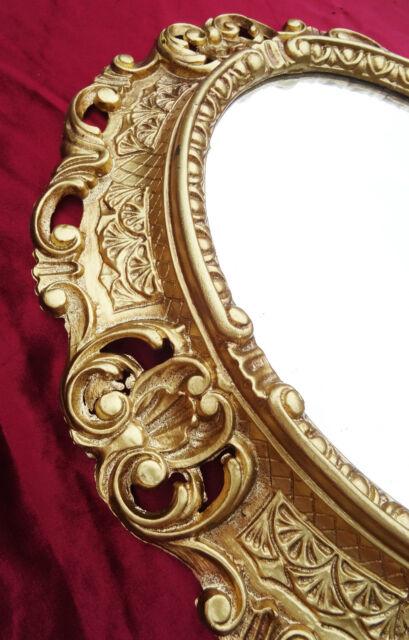 Wandspiegel Spiegel in GOLD OVAL 45 x 38 cm BAROCK Antik REPRO Vintage 345 1