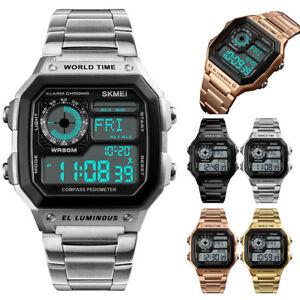 Luxury-SKMEI-Sport-Stainless-Steel-Men-Watch-Waterproof-Digital-Wristwatch